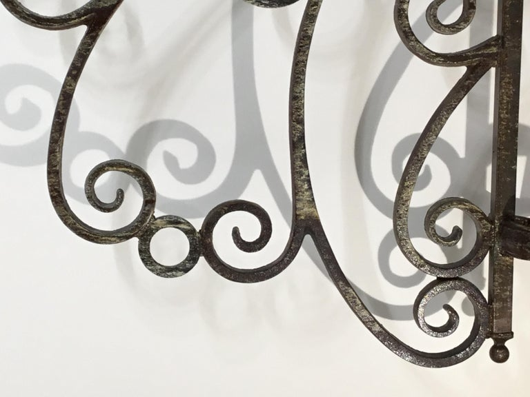 Cast and Wrought Iron Fireplace Screen For Sale 8