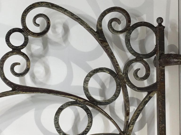 Cast and Wrought Iron Fireplace Screen For Sale 9
