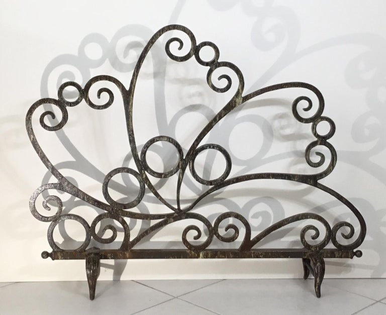 Cast and Wrought Iron Fireplace Screen For Sale 12
