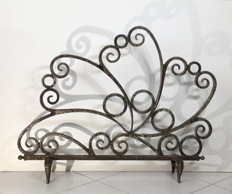 American Cast and Wrought Iron Fireplace Screen For Sale