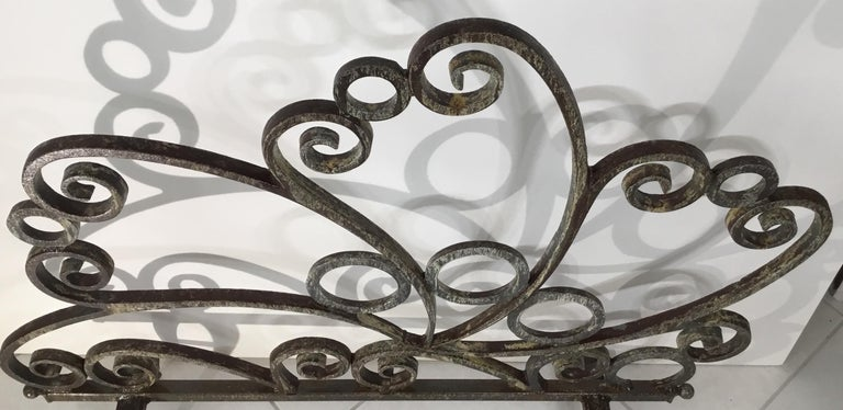 Contemporary Cast and Wrought Iron Fireplace Screen For Sale
