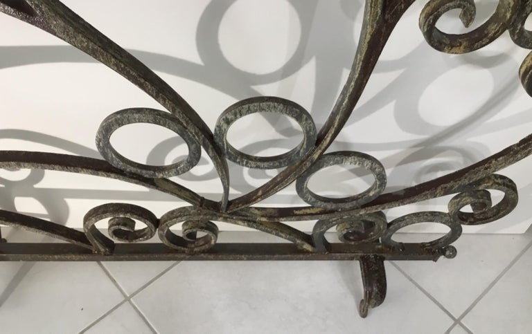 Cast and Wrought Iron Fireplace Screen For Sale 1
