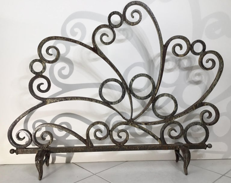 Cast and Wrought Iron Fireplace Screen For Sale 2