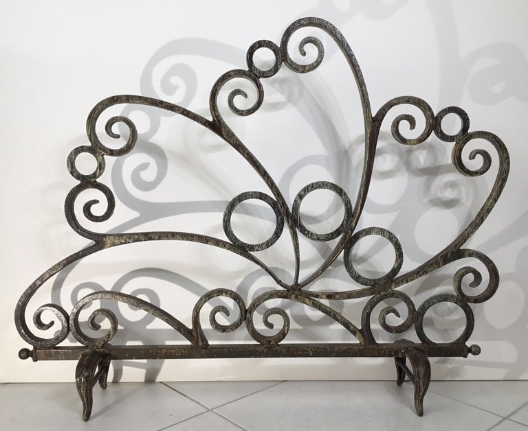 Cast and Wrought Iron Fireplace Screen For Sale 4