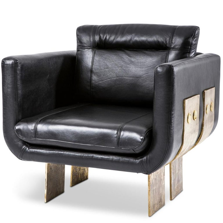 Modern Cast Brass and Leather Primal Lounge Chair by Egg Designs For Sale