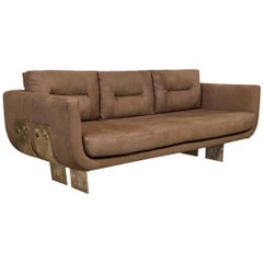 Cast Brass and Leather Primal Sofa by Egg Designs