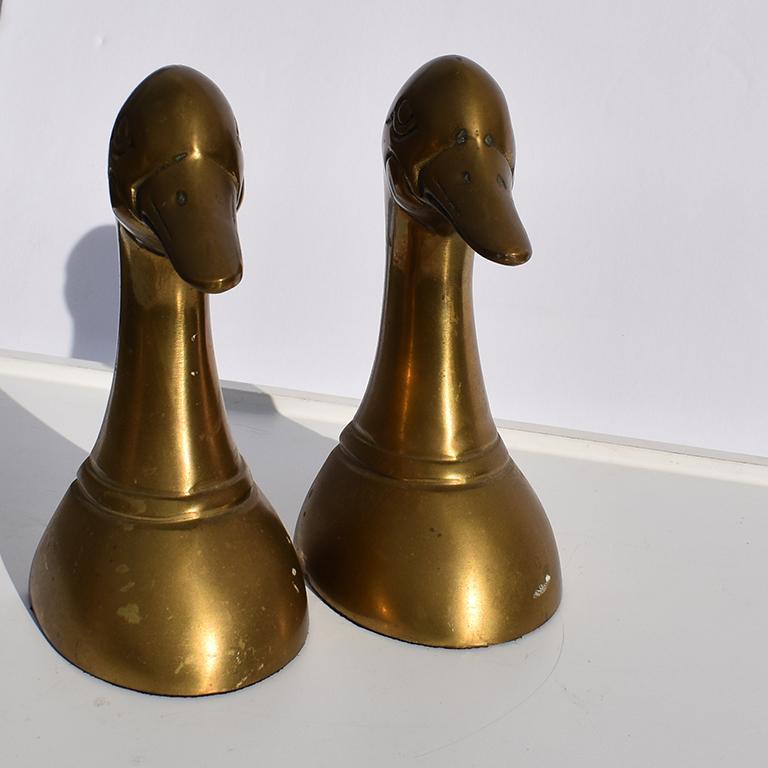Vintage Pair Of Brass Golden  Bear Bookends Upside Down Unique Heavy