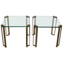 Cast Brass & Glass Pair Side Tables by Peter Ghyczy, Germany, 1970s