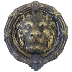 Cast Brass Lion Head and Wreath Door Knocker