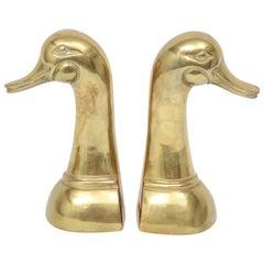 Cast Brass Mallard Duck Bookends