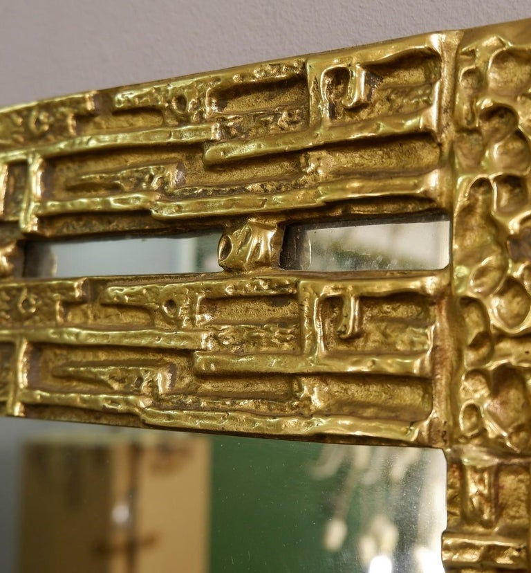 Cast brass mirror by Luciano Frigerio, Italy, 1970s.