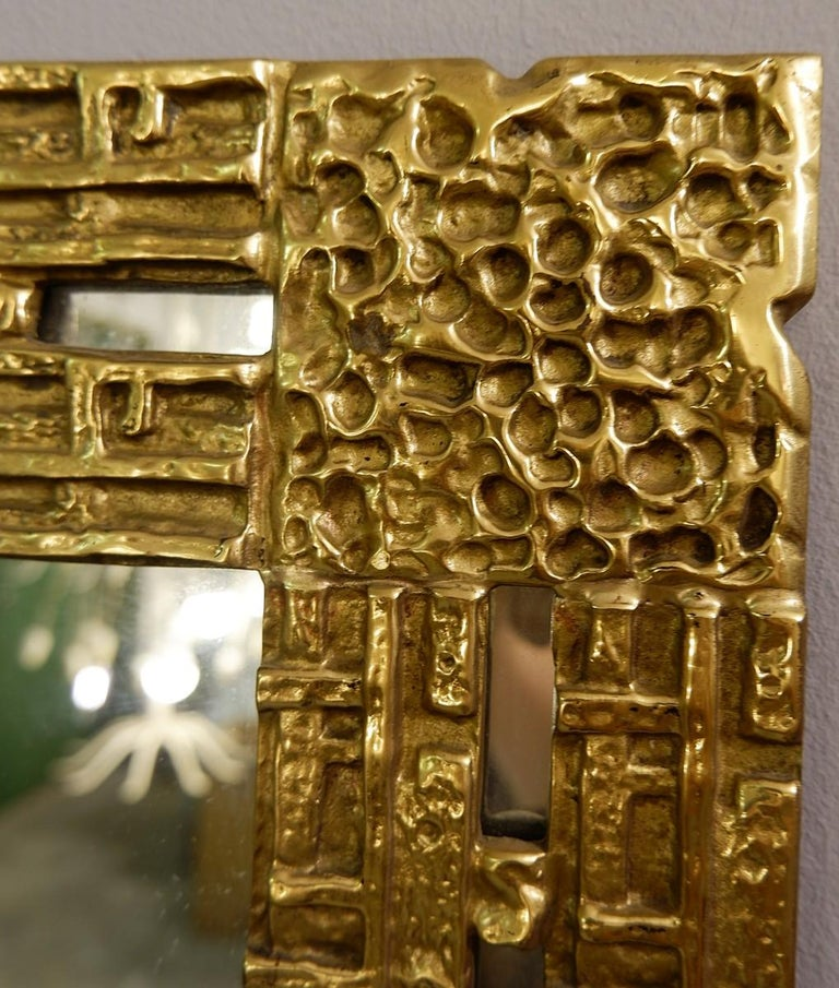 Mid-Century Modern Cast Brass Mirror by Luciano Frigerio, Italy, 1970s For Sale