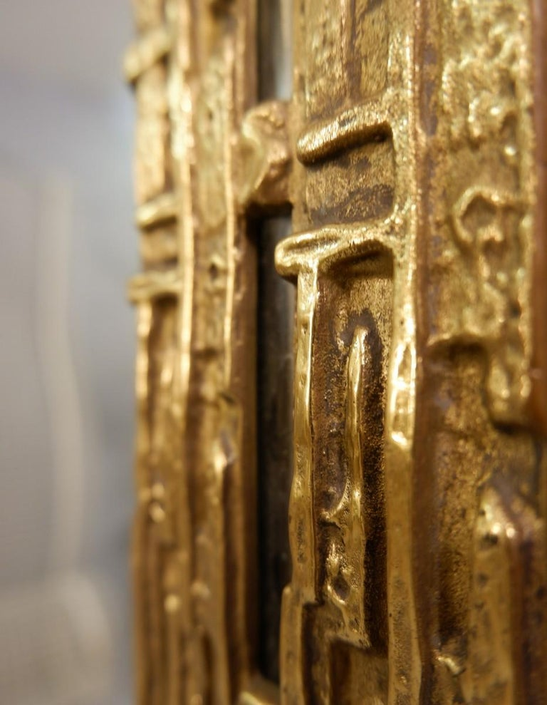 Cast Brass Mirror by Luciano Frigerio, Italy, 1970s In Good Condition For Sale In Brussels, BE