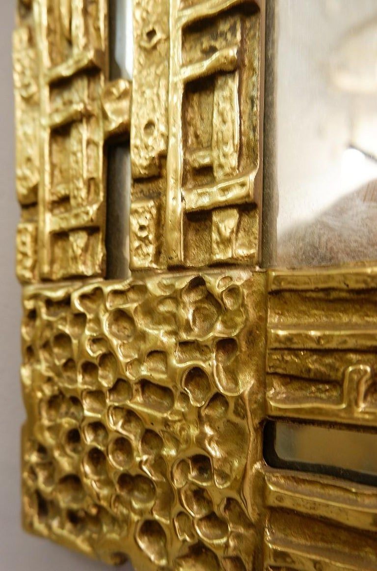 20th Century Cast Brass Mirror by Luciano Frigerio, Italy, 1970s For Sale