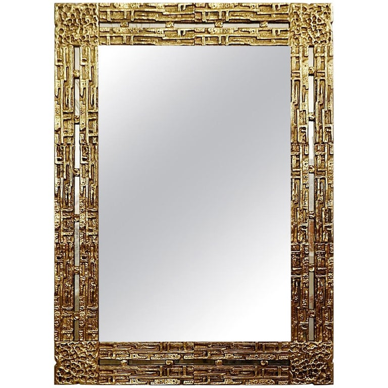 Cast Brass Mirror by Luciano Frigerio, Italy, 1970s For Sale