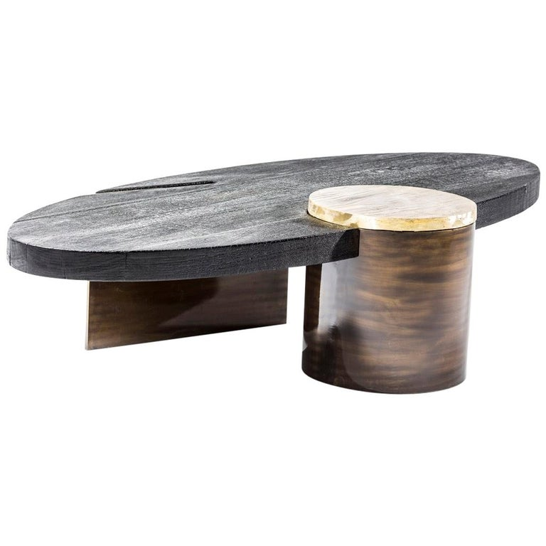 Cast Brass, Shou Sugi Ban & Burnished Steel Primal Coffee Table by Egg Designs For Sale