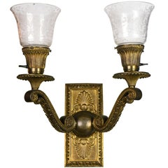 Cast Brass Victorian Two-Arm Sconce with Shades