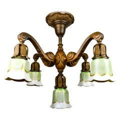 Cast Bronze 5-Light Chandelier with Lustre Arts Shades