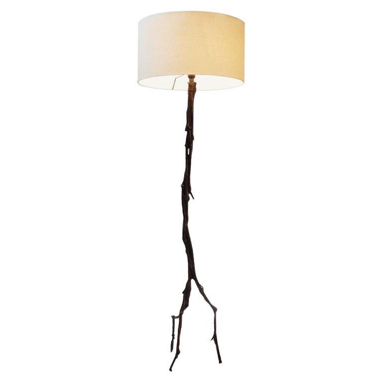 Cast Bronze Amazon Floor Lamp with Linen Shade by Elan Atelier