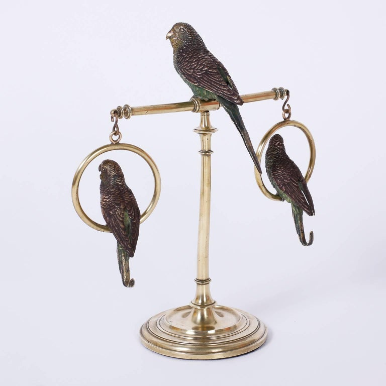 Edwardian Cast Bronze and Cold Painted Perched Parakeet Sculpture For Sale