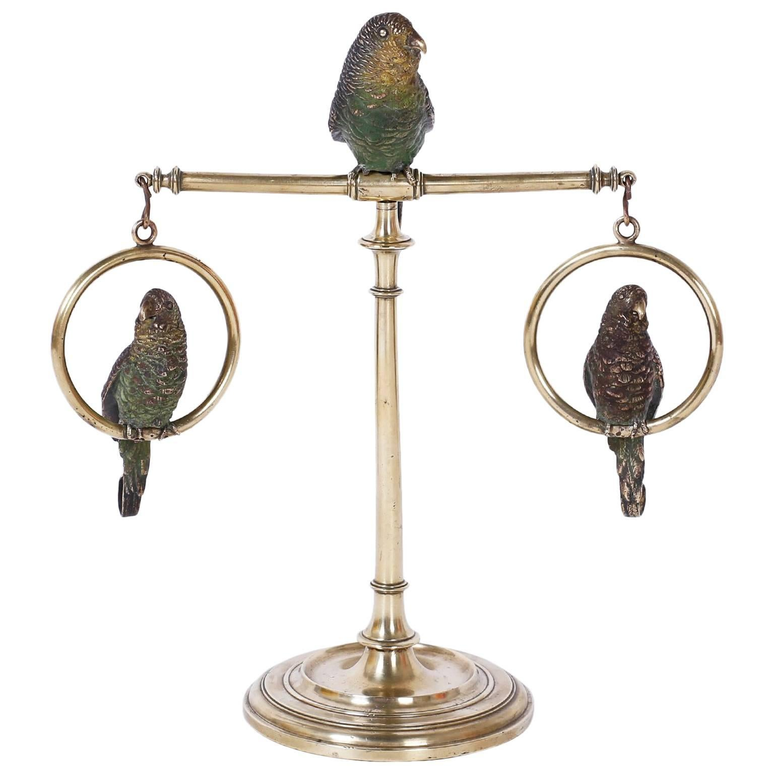 Cast Bronze and Cold Painted Perched Parakeet Sculpture