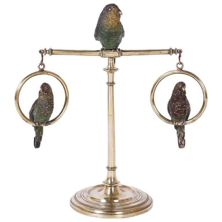 Cast Bronze and Cold Painted Perched Parakeet Sculpture For Sale