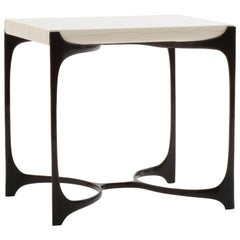 Cast Bronze and Gesso Nella Side Table by Elan Atelier