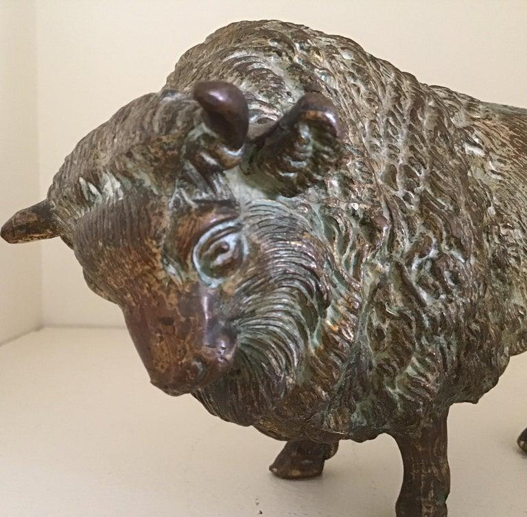 Cast Bronze Bull Sculpture circa 1890's For Sale 2