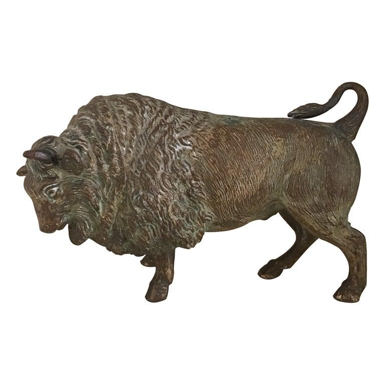 Cast Bronze Bull Sculpture circa 1890's For Sale