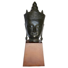 Cast Bronze Bust of Buddha on Wooden Base Late 18th Century