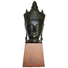Cast Bronze Bust of Buddha on Wooden Base, Late 18th Century
