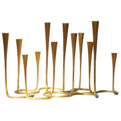 Cast Bronze Daisy Candlestands in Matte Gold Bronze Finish Small by Elan Atelier