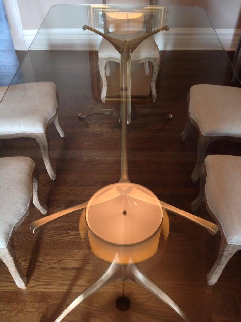 Art Nouveau Cast Bronze Dining Table Pedestal Base with Optional Glass Top For Sale