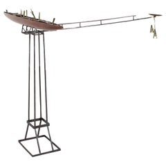 Cast Bronze Fantasy Ship with Iron Stand and Satelite Canoe