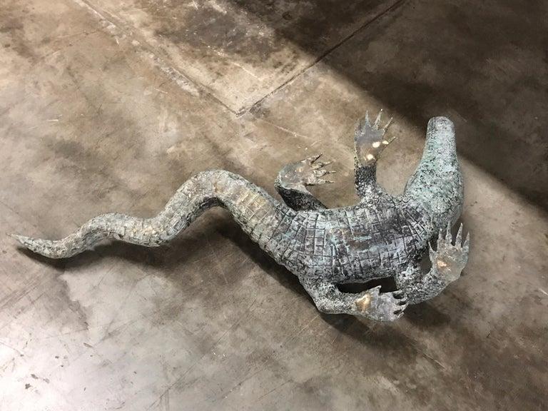 Cast Bronze Garden Sculpture of an Alligator For Sale 7