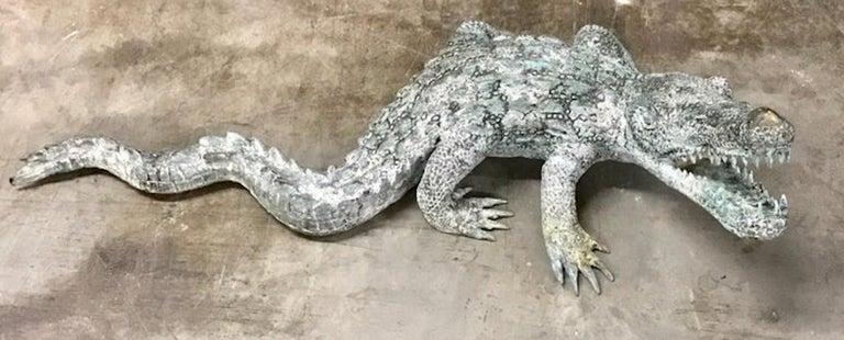 Cast Bronze Garden Sculpture of an Alligator For Sale 8