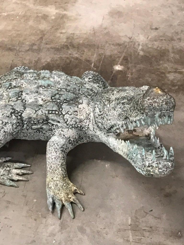Cast Bronze Garden Sculpture of an Alligator In Good Condition For Sale In Atlanta, GA