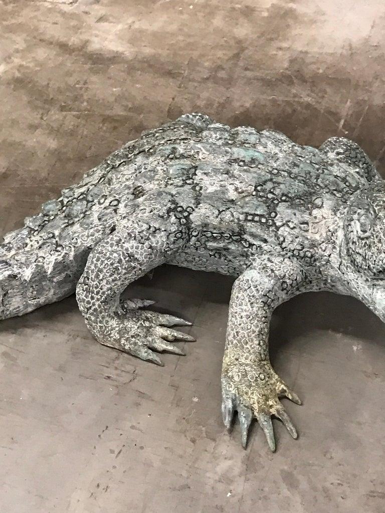 Cast Bronze Garden Sculpture of an Alligator For Sale 1