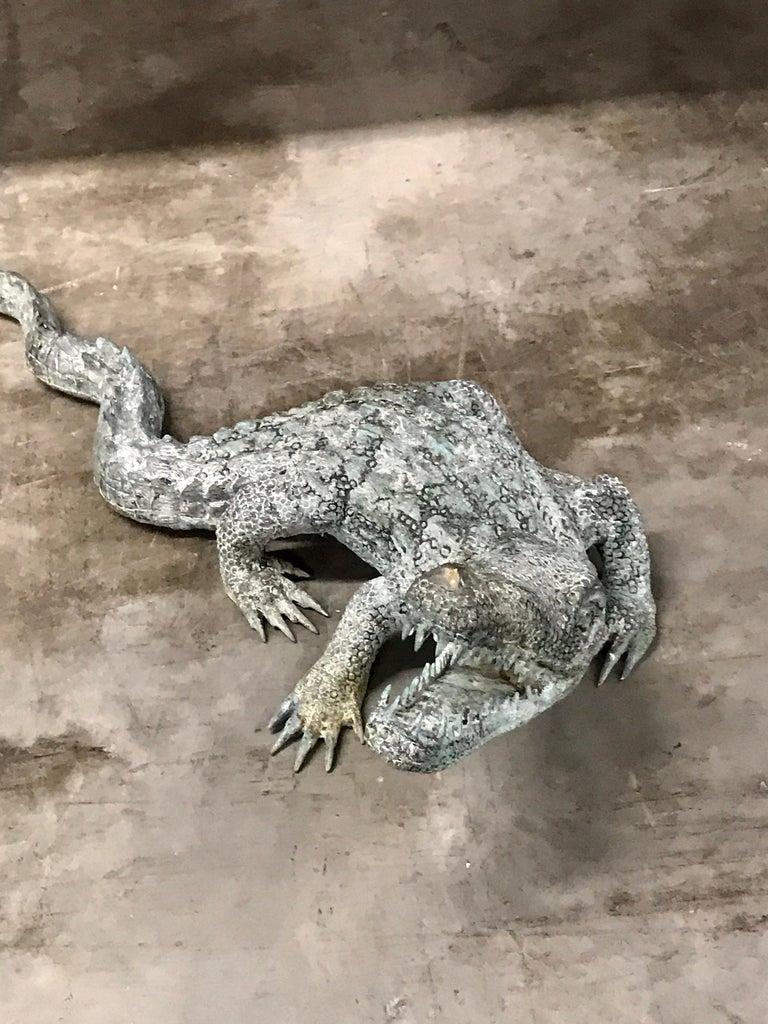 Cast Bronze Garden Sculpture of an Alligator For Sale 2