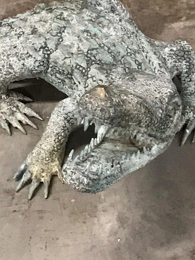 Cast Bronze Garden Sculpture of an Alligator For Sale 3
