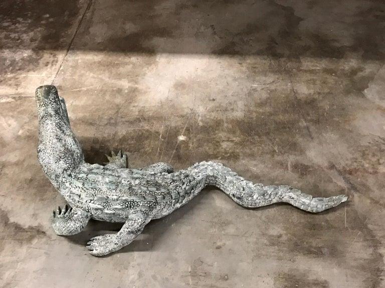 Cast Bronze Garden Sculpture of an Alligator For Sale 5