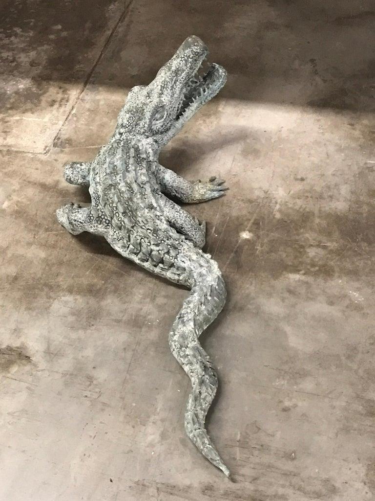 Cast Bronze Garden Sculpture of an Alligator For Sale 6