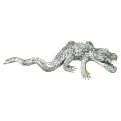Cast Bronze Garden Sculpture of an Alligator