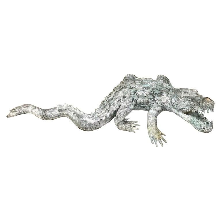 Cast Bronze Garden Sculpture of an Alligator For Sale