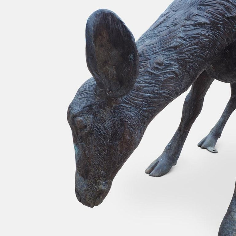 Cast Bronze Grazing Fawn For Sale 8