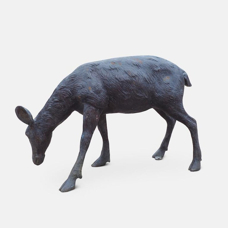 Cast Bronze Grazing Fawn For Sale 12