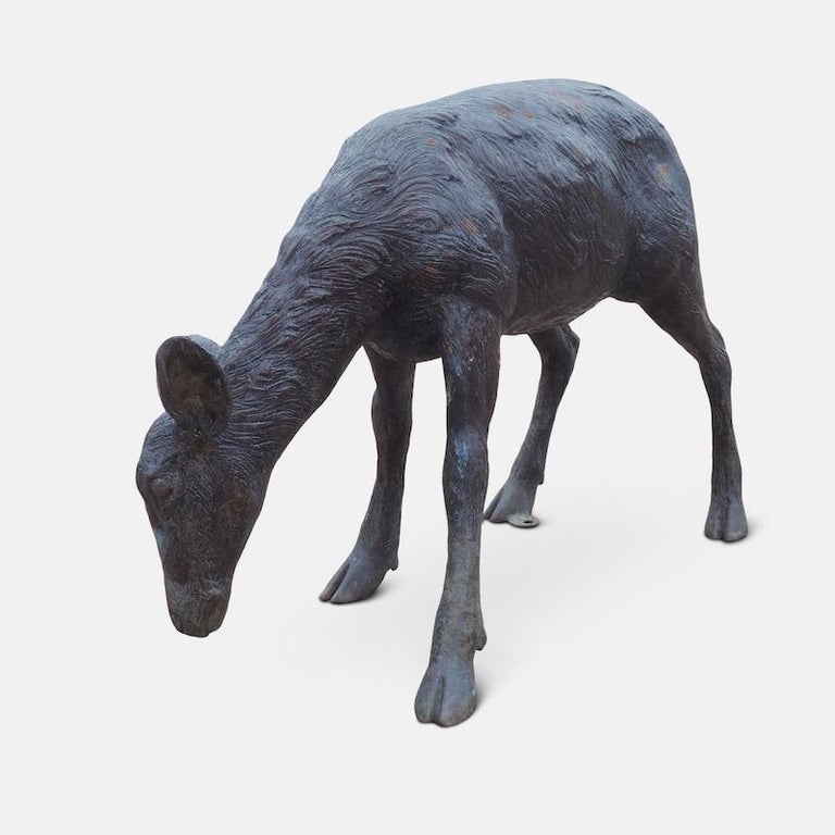 Cast Bronze Grazing Fawn For Sale 13