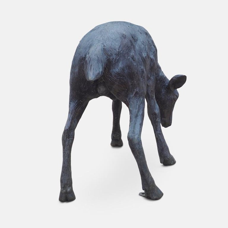 Modern Cast Bronze Grazing Fawn For Sale