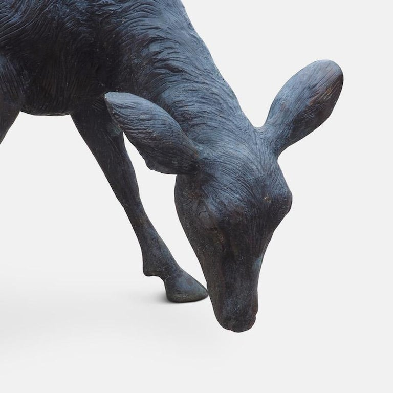 Cast Bronze Grazing Fawn For Sale 2