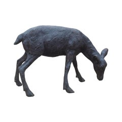 Cast Bronze Grazing Fawn Sculpture